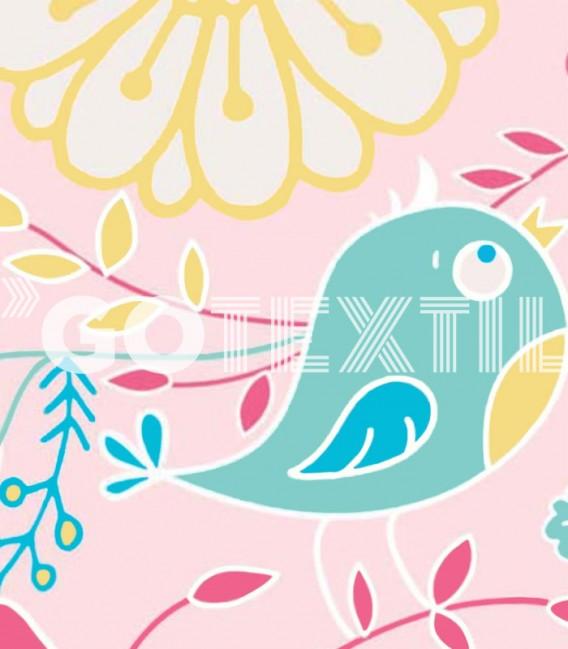 Detalle del Estampado de la Colcha Bouti Estampada TULA Color Rosa. Home'secret