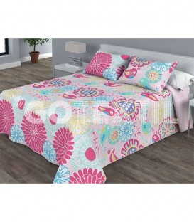 Colcha Bouti Estampada TULA Color Rosa. Home'secret