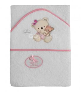 ¡ENVÍO GRATIS! Capa de baño PAREJITA OSOS 1192 Blanco/Rosa 100x100cm Interbaby