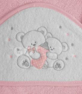 ¡ENVÍO GRATIS! Detalle del tejido de la Capa de baño para bebé OSO BIBERÓN 129 Rosa 100x100cm Denenes