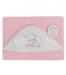 ¡ENVÍO GRATIS! Capa de baño para bebé OSO BIBERÓN 129 Rosa 100x100cm Denenes