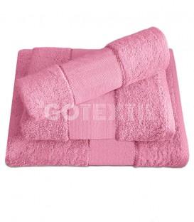 Juego de toallas TROVADOR 601 ROSA con cenefa PANAMÁ Punto de Cruz