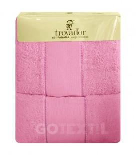 Envase Juego de toallas TROVADOR 601 ROSA con cenefa PANAMÁ Punto de Cruz