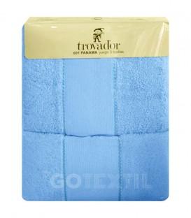 Envase Juego de toallas TROVADOR 601 CELESTE con cenefa PANAMÁ Punto de Cruz