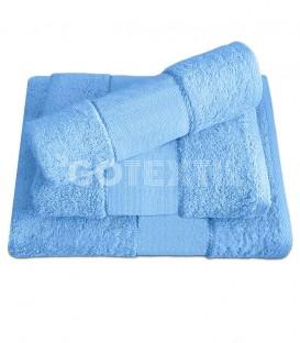 Juego de toallas TROVADOR 601 CELESTE con cenefa PANAMÁ Punto de Cruz