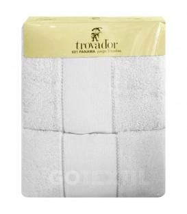 Envase Juego de toallas TROVADOR 601 BLANCO con cenefa PANAMÁ Punto de Cruz