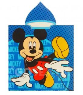 Poncho playa MICKEY MOUSE MKY DISNEY 55x110cm rizo de microfibra con capucha