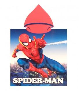 Poncho playa SPIDERMAN Marvel 55x110cm rizo de microfibra con capucha