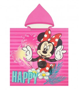 Poncho playa MINNIE MOUSE HAPPY DISNEY 55x110cm rizo de microfibra con capucha