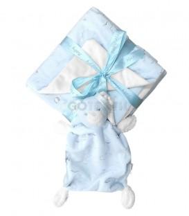 Conjunto de MANTA Y NANITA 21285 Baby Happy 2 Piezas Azul