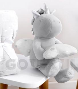 Muñeco Unicornio y Manta Unicornio Gris bebé 21311 Baby Happy