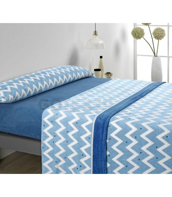 ¡ENVÍO GRATIS! Juego de Sábanas Coralina MICROCORAL I82 Azul Textils Mora