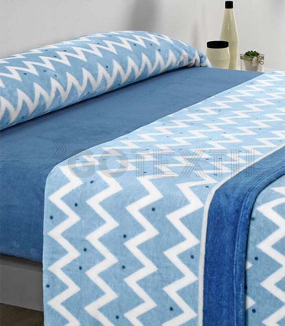 ¡ENVÍO GRATIS! Juego de Sábanas Coralina Baratas MICROCORAL I82 Azul Textils Mora