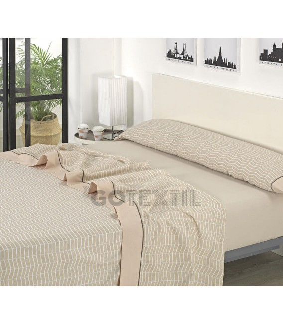 ¡ENVÍO GRATIS! Juego de sábanas verano J08 Beige Textils Mora