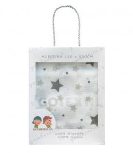 Gasa Muselina bebé 10360 ESTRELLAS Algodón 120X120cm GAMBERRITOS.