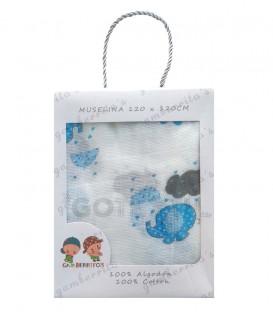 Gasa Muselina bebé 10364 ELEFANTE + NUBES Azul Algodón 120X120cm GAMBERRITOS.