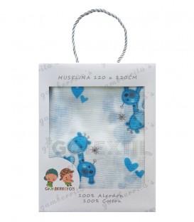 Gasa Muselina bebé 10363 JIRAFA Azul Algodón 120X120cm GAMBERRITOS.