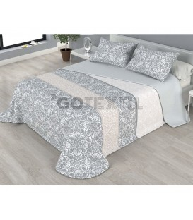 ¡ENVÍO GRATIS! Colcha bouti estampada BUNDI reversible color gris Home'secret