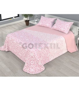 ¡ENVÍO GRATIS! Colcha bouti estampada NAIARA reversible color rosa Home'secret