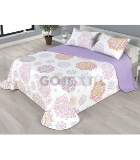 ¡ENVÍO GRATIS! Colcha bouti estampada VALERIA reversible color malva Home'secret