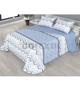 ¡ENVÍO GRATIS! Colcha bouti estampada PIKI reversible color azul Home'secret
