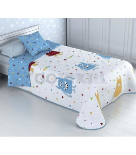 ¡ENVÍO GRATIS! Colcha Bouti Infantil Reversible MONSTRUOS Home'secret