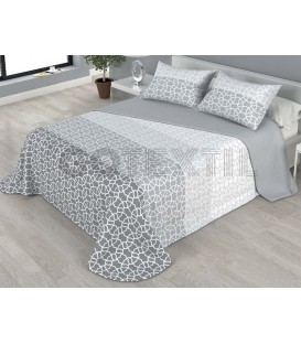 ¡ENVÍO GRATIS! Colcha bouti estampada NIZA reversible color gris Home'secret