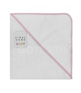 Capa Baño de bebé color Blanco Rosa. Con panamá especial para bordar