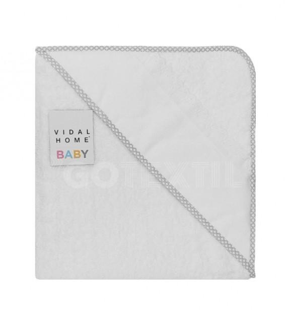 Capa Baño de bebé color Blanco Gris. Con panamá especial para bordar