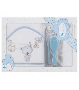 Capa de baño TENDEDERO OSO + PEINE Y CEPILLO P1182 Blanco/Azul 100x100cm Interbaby