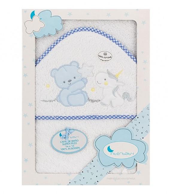 Capa de baño UNICORNIO Y OSO 01220 Blanco/Azul 100x100cm Interbaby