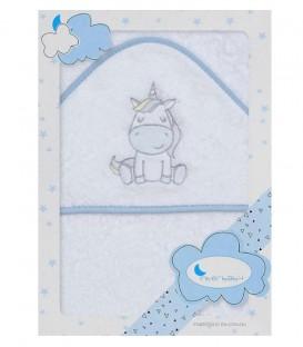 Capa de baño UNICORNIO 1188 Blanco/Azul 100x100cm Interbaby