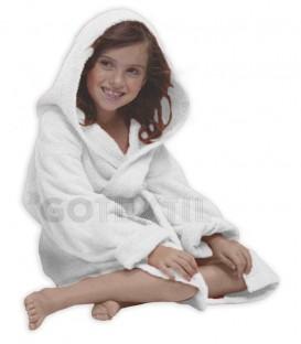 TROVADOR Albornoz Infantil con capucha CALYPSO Blanco