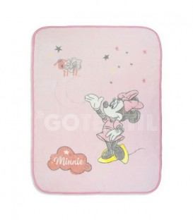 Manta Terciopelo Bebé MINNIE COUNTING SHEEP Rosa 110x140 cm. DISNEY - Interbaby GOTEXTIL