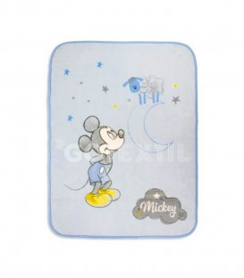 Manta Terciopelo Bebé MICKEY COUNTING SHEEP Azul 110x140 cm. DISNEY - Interbaby GOTEXTIL