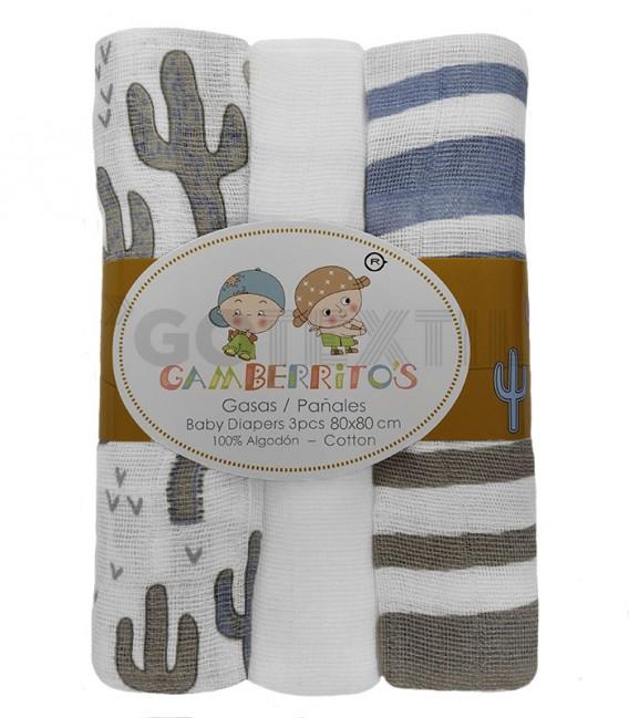 Pack 3 Gasas bebé RAYAS y CACTUS Azul GAMBERRITOS - GOTEXTIL