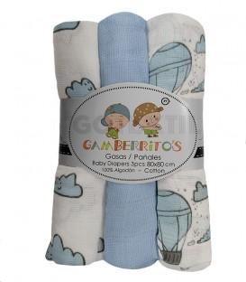 Pack 3 Gasas bebé GLOBOS Y NUBES Azul GAMBERRITOS - GOTEXTIL