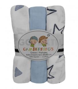 Pack 3 Gasas bebé ESTRELLAS y TRIÁNGULOS Azul GAMBERRITOS - GOTEXTIL