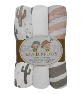 Pack 3 Gasas bebé RAYAS y CACTUS Rosa GAMBERRITOS - GOTEXTIL