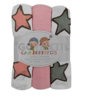 Pack 3 Gasas Bebé STARS Rosa Gamberritos - GOTEXTIL