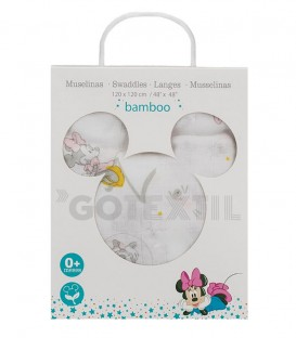 Disney. Gasa Muselina MINNIE COUNTING SHEEP MN019 Algodón 120X120cm INTERBABY - GOTEXTIL