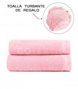 Set 2 toallas rosa + regalo de toalla turbante Naf Naf - GOTEXTIL