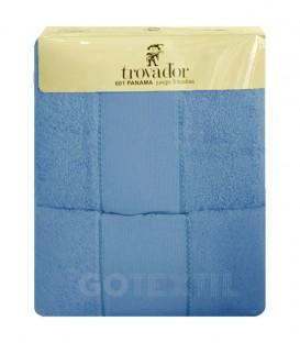 Juego de toallas TROVADOR 601color AZUL con cenefa PANAMÁ Punto de Cruz - GOTEXTIL
