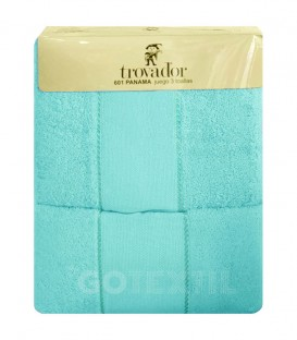 Juego de toallas TROVADOR 601 AQUA con cenefa PANAMÁ Punto de Cruz - GOTEXTIL