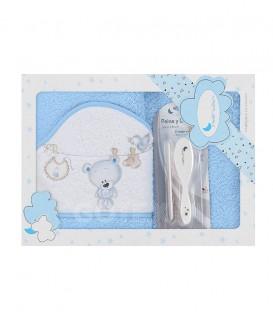 Capa de baño TENDEDERO OSO + PEINE Y CEPILLO P1182 Azul 100x100cm Interbaby