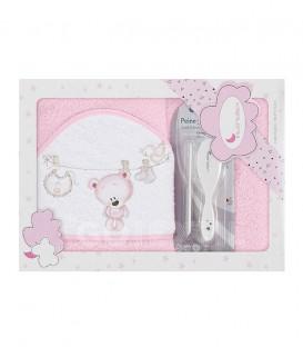 GOTEXTIL Capa de baño TENDEDERO OSO + PEINE Y CEPILLO P1182 Rosa 100x100cm Interbaby