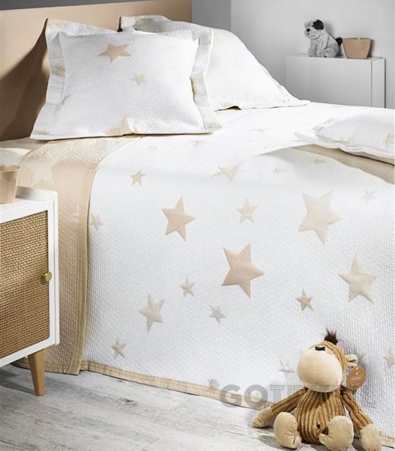 GOTEXTIL Colcha Bouti Juvenil Reversible 7622 STARS Beige. ATENAS