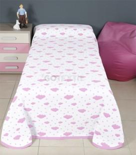 GOTEXTIL Colcha Bouti Reversible Infantil 31116 Blanco/Rosa. BH Textil
