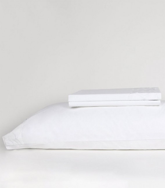 GOTEXTIL Sábanas Bordadas Blanco Vintage DANICA Blanco Percal 200 Hilos. DON ALGODÓN