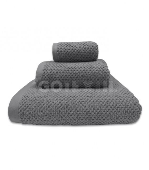 GOTEXTIL Toalla Trovador ONYX Grano de Arroz Color Pizarra 100% Algodón
